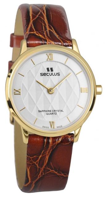 Женские часы Seculus 1610.1.106 white, pvd, brown leather - купить по цене 6450 в грн в Киеве, Днепре, отзывы в интернет-магазине Timeshop